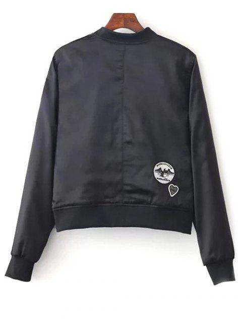 chic Quilted Patched Bomber Jacket - BLACK L Mobile