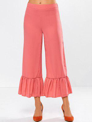 Wide Leg High Rise Pants - Red Orange L