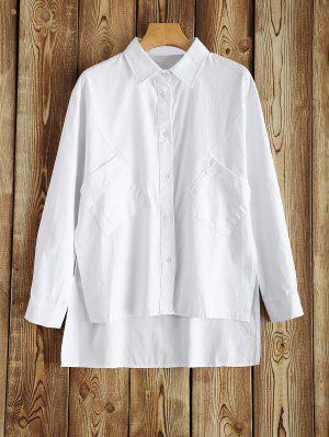 Loose Side Slit High-Low Shirt - Branco 3xl
