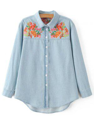Embroidered Yoke Denim Shirt - Light Blue S