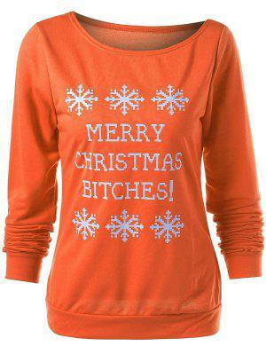 Merry Christmas Snowflake Print Sweatshirt - Orange S