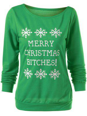 Merry Christmas Snowflake Print Sweatshirt - Green L