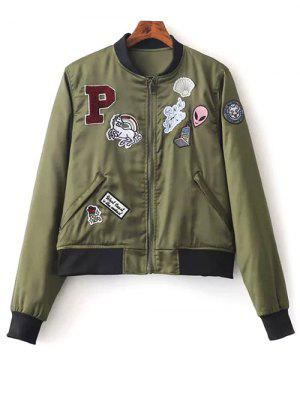 Quilted Patched Bomber Jacket - Green S