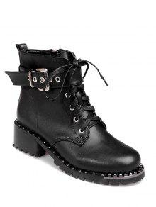 Tie Up Rivets Buckle Strap Ankle Boots - Black 38 cheap genuine qFTzzLdt