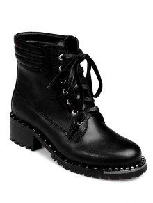 Buy Lace-Up Rivets PU Leather Ankle Boots - BLACK 37