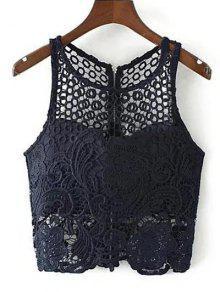 Crochet Flower Padded Crop Top - Purplish Blue M