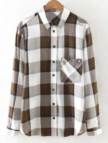 Checked Patch Pocket Shirt - White S