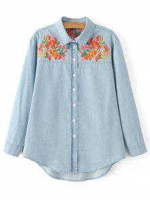 Bordado Yoke Denim Shirt - Azul Claro S