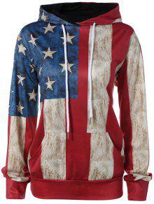 البلوز العلم الأمريكي طباعة هوديي - 2xl