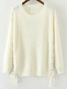 Lace Up Hem Open Stitch Sweater - White M