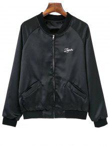 Love Heart Embroidered Bomber Jacket - Black S
