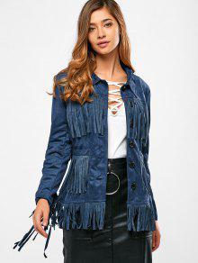 Bordée Faux Suede Jacket - Bleu Violet L