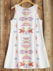 Sleeveless Printed Robe évasée - Blanc S