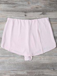 Culotte Hendidura Flaco Pantalones Cortos - Rosado Claro M