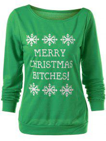 Merry Christmas Snowflake Print Sweatshirt - Green L