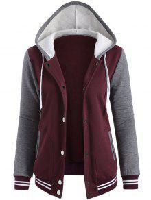 Varsity Baseball Fleece Hoodie Jacket - Wine Red L