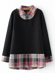 Plus Size Faux Layered Sweatshirt - Black Xl