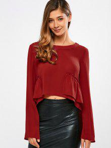 Buy Long Sleeve Frilly Crop Top - RED S