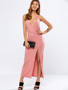 High Slit Strappy Low Cut Maxi Dress - Pink M