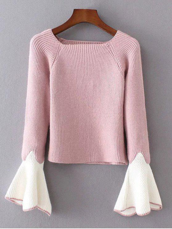 online Bell Sleeve Contrasting Jumper - PINK ONE SIZE