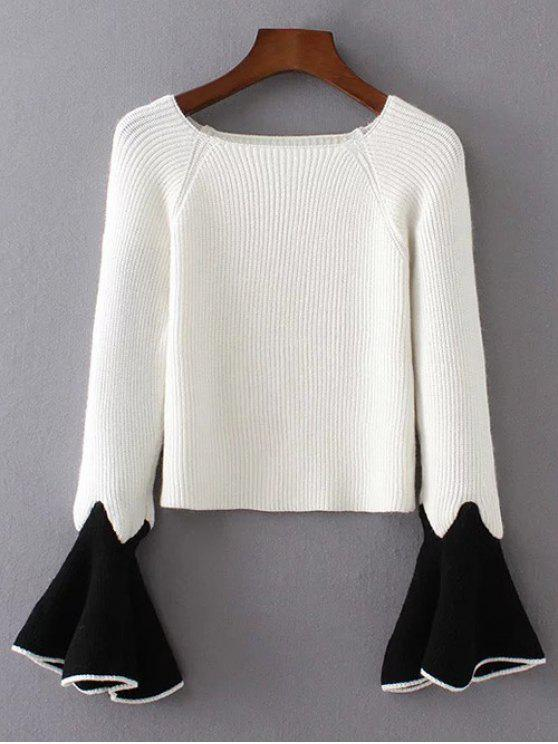 new Bell Sleeve Contrasting Jumper - WHITE ONE SIZE