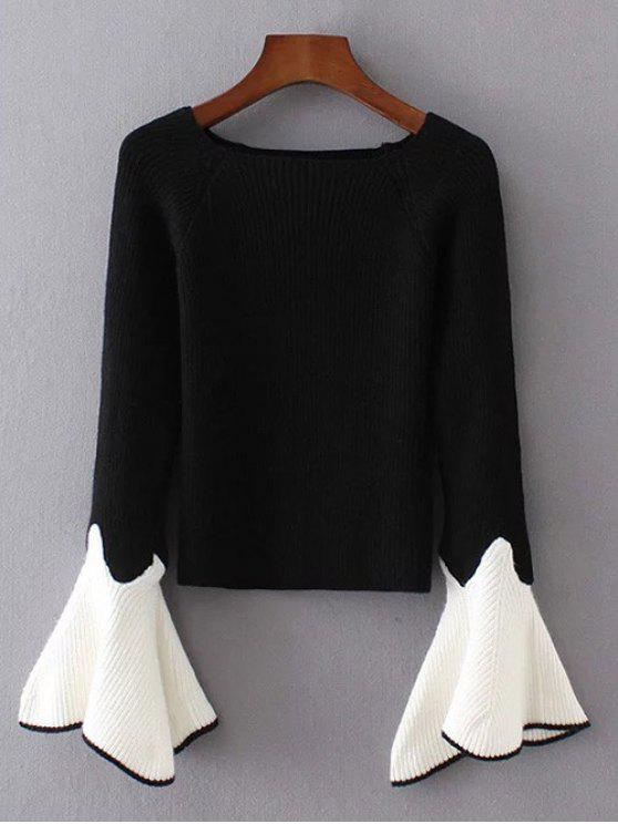 hot Bell Sleeve Contrasting Jumper - BLACK ONE SIZE