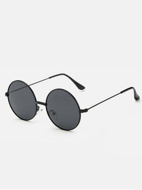 fancy Slim Leg Metal Round Sunglasses - BLACK