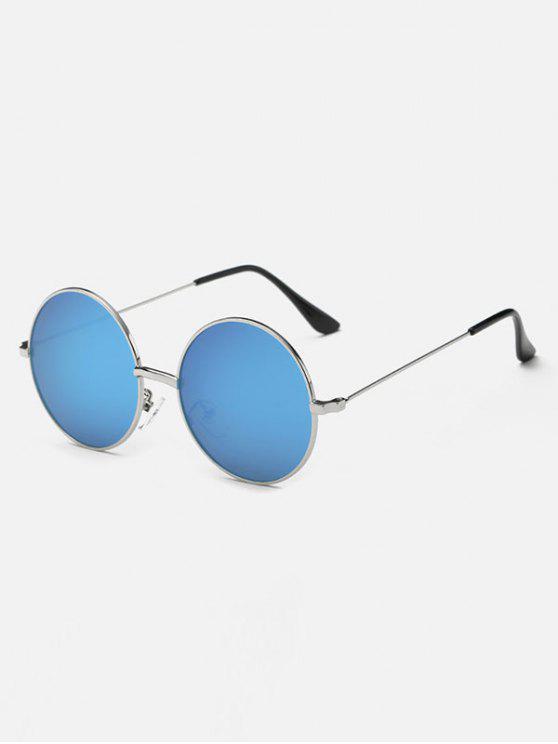 Pierna delgada de metal gafas de sol de espejo redondo - Azul Hielo