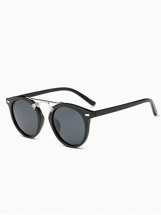 women Dam Nose Bridge Oval Sunglasses - BLACK