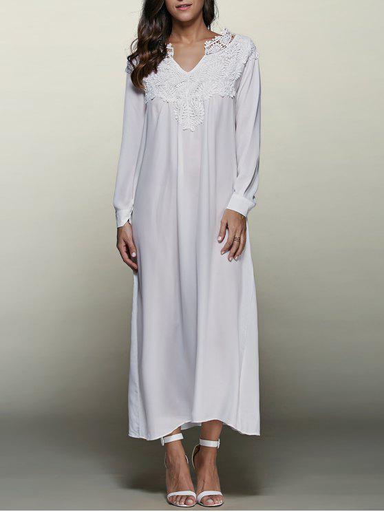 sale Crochet Trim Maxi Flowing Dress - WHITE M