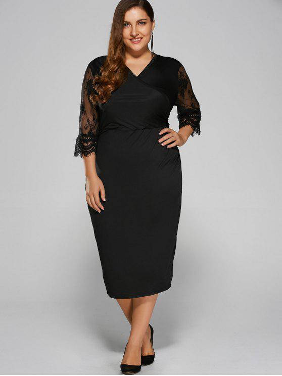 2018 Cut Out Plus Size Dress In Black L Zaful