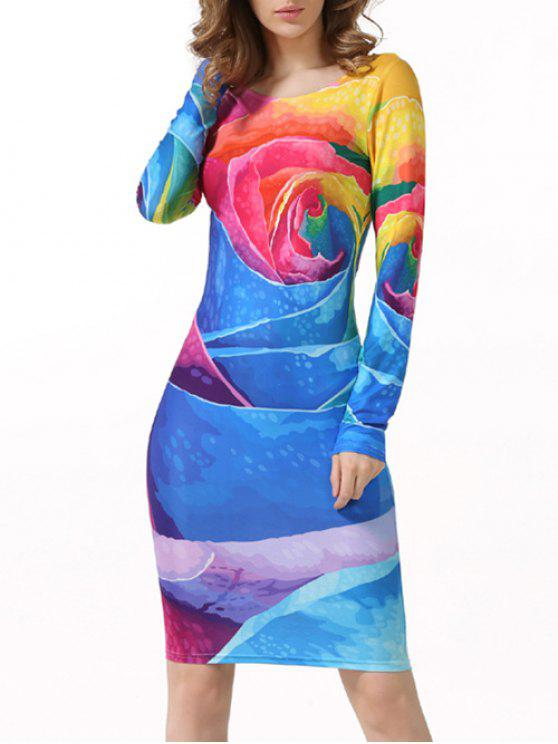 lady Tie-Dyed Long Sleeve Bodycon Dress - MULTICOLOR L