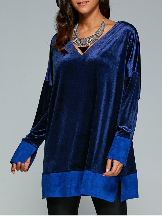 Contraste Hem Side Slit vestido de veludo - Azul safira L
