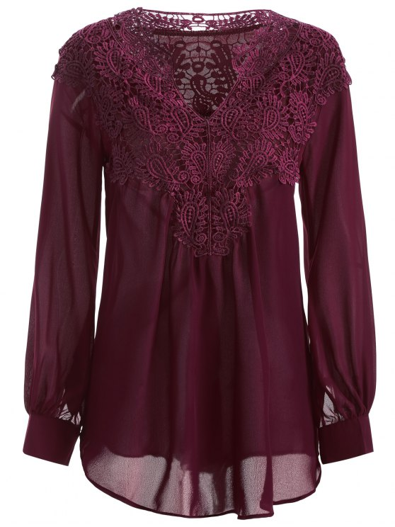 womens Crochet Floral Long Sleeve Blouse - WINE RED S
