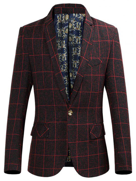 affordable Flap Pocket Single Breasted Grid Blazer - WINE RED XL