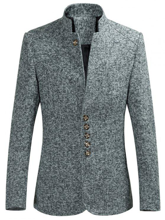 womens Mandarin Collar Men Blazer - GRAY XL