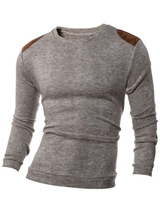 fancy Shoulder Patch Design Round Neck Ribbed Sweater - BEIGE XL