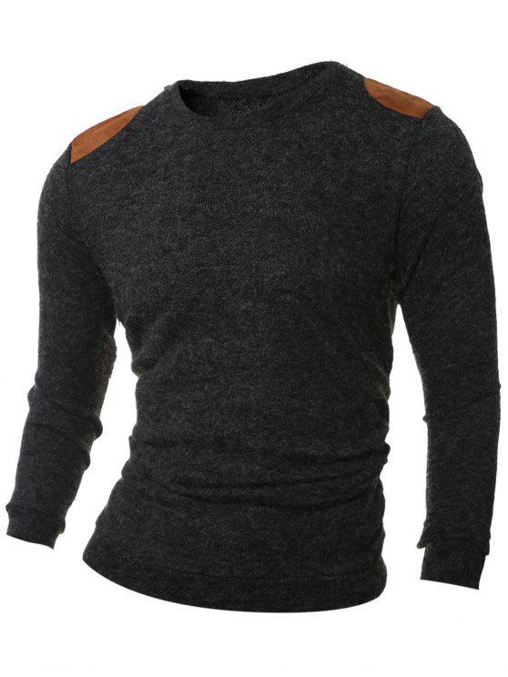 Remendo de ombro projeto em torno do pescoço com nervuras da camisola - Cinza Fumarento L
