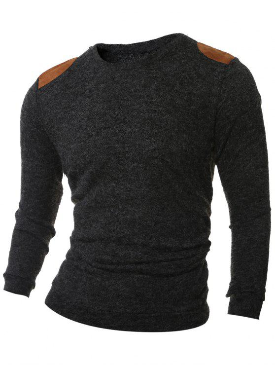 Shoulder Patch Design Round Neck Ribbed Sweater SMOKY GRAY ...