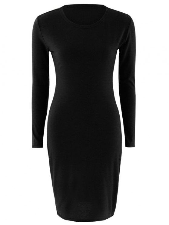 women Stretchy Long Sleeves Bodycon Dress - BLACK S