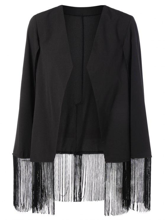 womens Fringe Asymmetric Cape Blazer - BLACK L