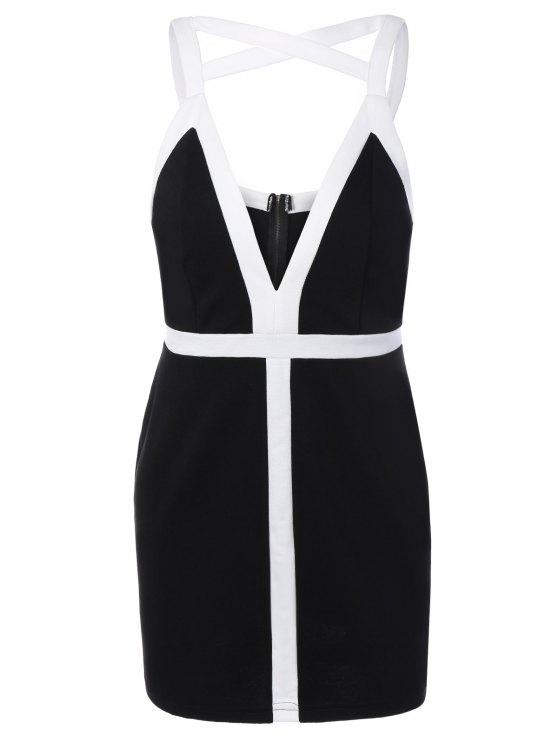 hot Plunging Neck Bodycon Strappy Dress - BLACK L