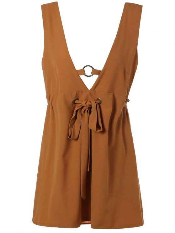 ladies Self Tie Backless Plunging Neck Mini Dress - LIGHT BROWN L