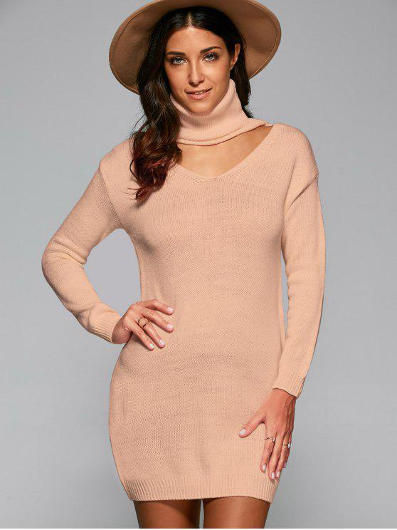 hot Turtleneck Choker Sweater - NUDE ONE SIZE