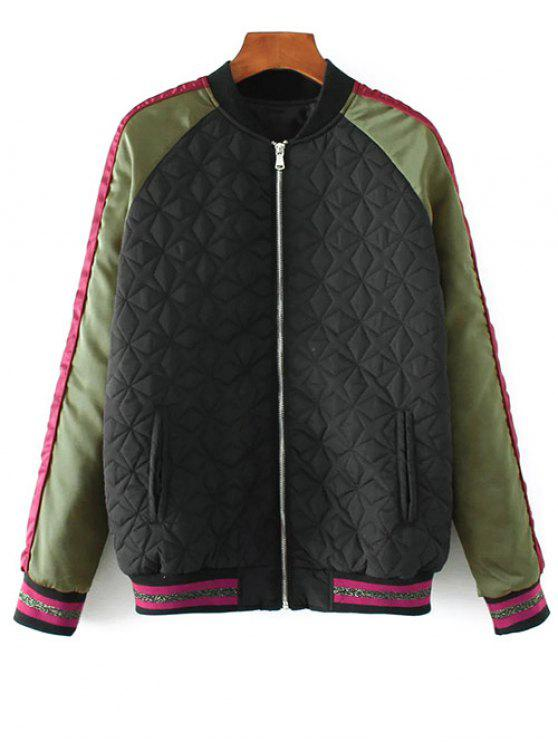 hot Tiger Embroidered Quilted Souvenir Jacket - BLACK M