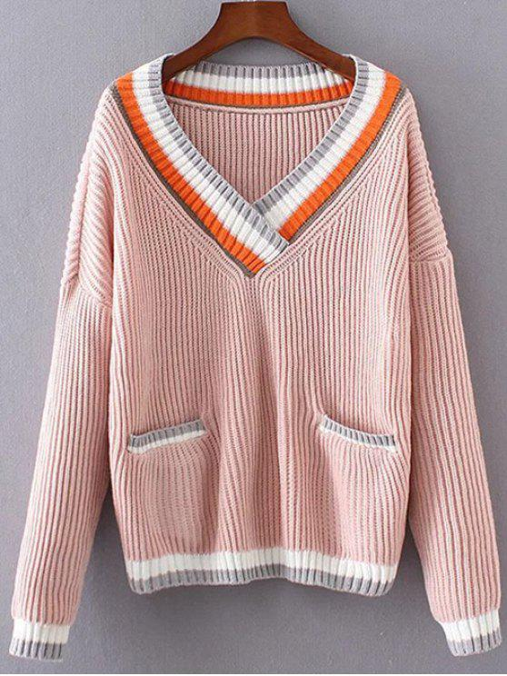 V Neck Stripe trim Jumper - Rose  Taille Unique