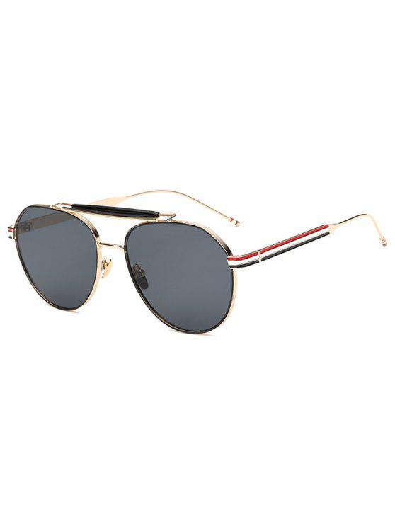 latest Crossbar Striped Leg Pilot Sunglasses - GOLDEN