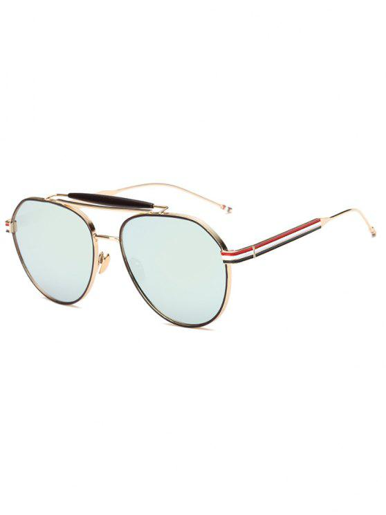 fashion Crossbar Striped Leg Pilot Mirror Sunglasses - GREY BLUE