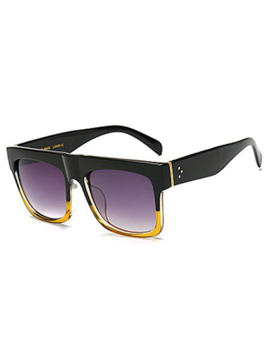 women Color Block Frame Rectangle Sunglasses - YELLOW