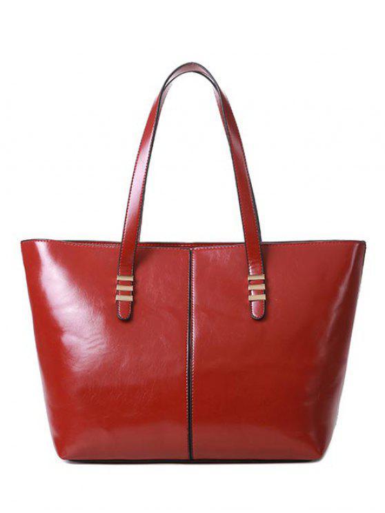 Bolso metálico costura de cuero de la PU - Vino Rojo